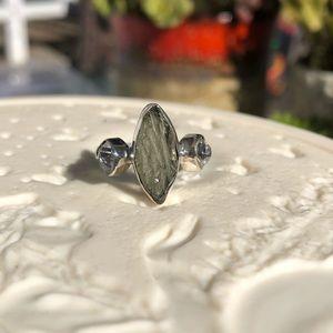 Moldavite Herkimer Sterling Silver Ring Sz 7